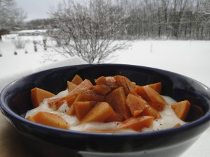 Coconut yoghurt and persimmon breakfast